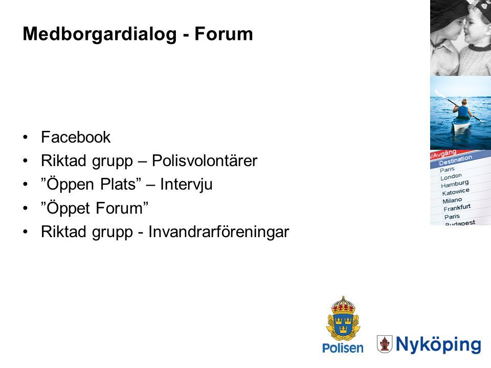 """Medborgardialog - Forum Facebook Riktad grupp – Polisvolontärer """"Öppen Plats"""" – Intervju """"Öppet Forum"""" Riktad grupp - Invandrarföreningar"""