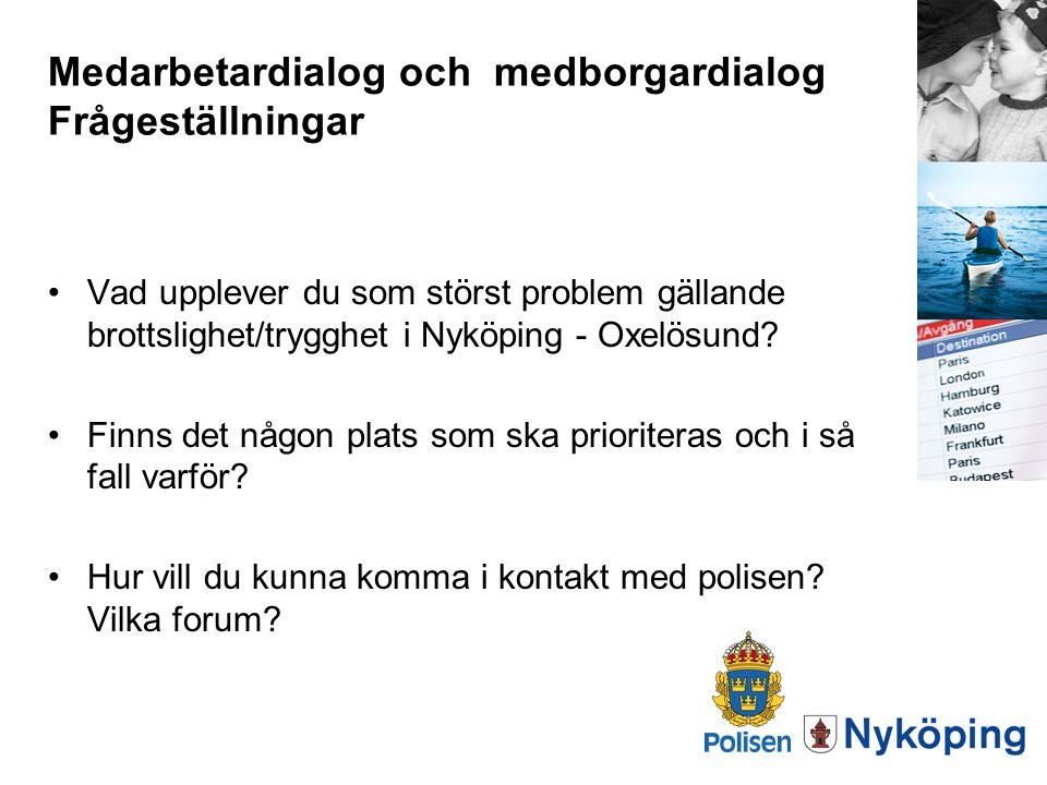 Medarbetardialog och medborgardialog Frågeställningar Vad upplever du som störst problem gällande brottslighet/trygghet i Nyköping - Oxelösund? Finns