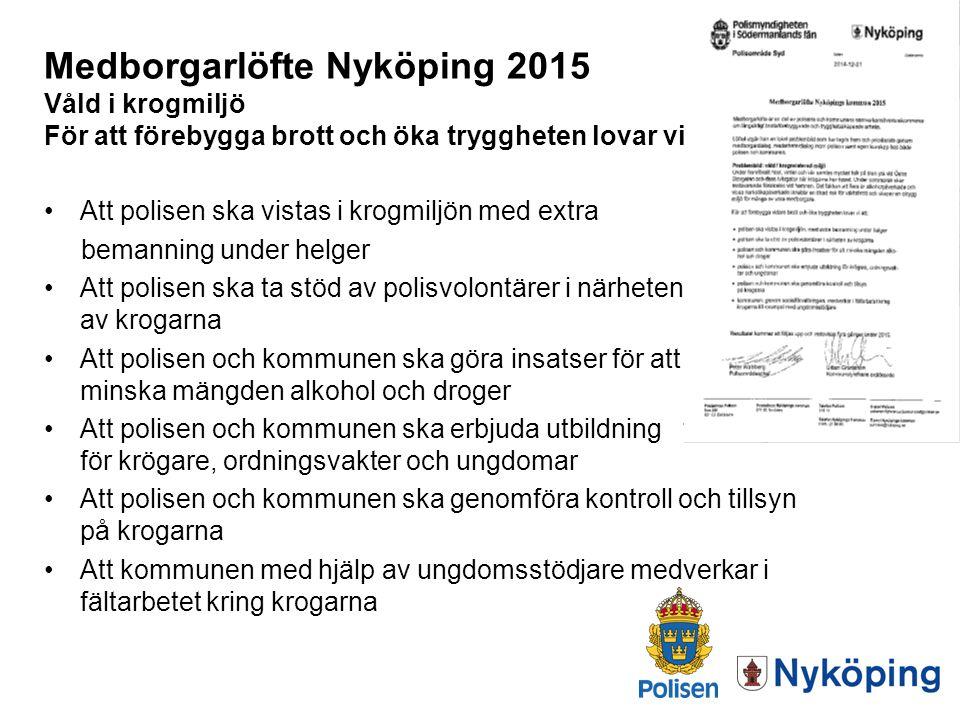 Medborgarlöfte Nyköping 2015 Våld i krogmiljö För att förebygga brott och öka tryggheten lovar vi: Att polisen ska vistas i krogmiljön med extra beman