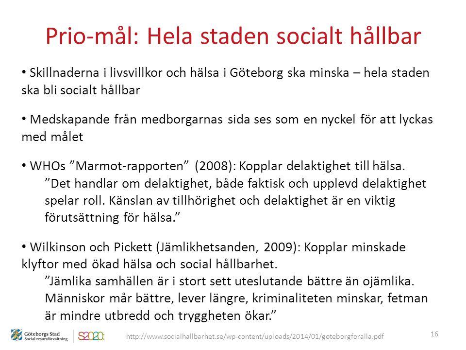 Prio-mål: Hela staden socialt hållbar 16 http://www.socialhallbarhet.se/wp-content/uploads/2014/01/goteborgforalla.pdf Skillnaderna i livsvillkor och