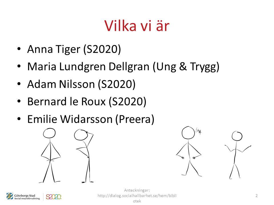 Vilka vi är Anna Tiger (S2020) Maria Lundgren Dellgran (Ung & Trygg) Adam Nilsson (S2020) Bernard le Roux (S2020) Emilie Widarsson (Preera) Anteckning