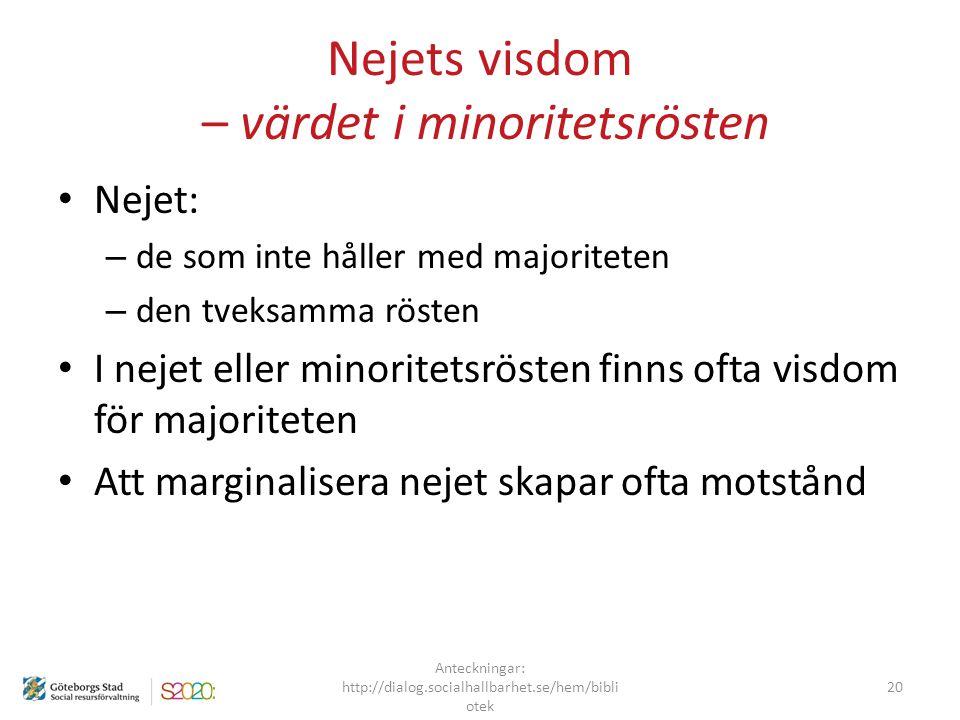 Nejets visdom – värdet i minoritetsrösten Nejet: – de som inte håller med majoriteten – den tveksamma rösten I nejet eller minoritetsrösten finns ofta