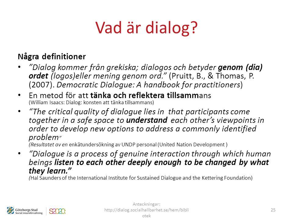 """Vad är dialog? Några definitioner """"Dialog kommer från grekiska; dialogos och betyder genom (dia) ordet (logos)eller mening genom ord."""" (Pruitt, B., &"""