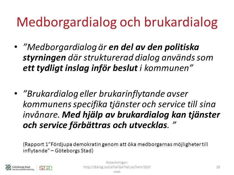 """Medborgardialog och brukardialog """"Medborgardialog är en del av den politiska styrningen där strukturerad dialog används som ett tydligt inslag inför b"""