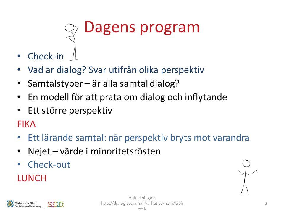 Dagens program Check-in Vad är dialog? Svar utifrån olika perspektiv Samtalstyper – är alla samtal dialog? En modell för att prata om dialog och infly