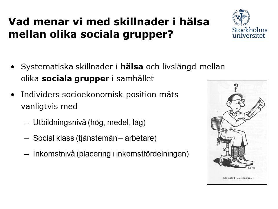 Vad menar vi med skillnader i hälsa mellan olika sociala grupper? Systematiska skillnader i hälsa och livslängd mellan olika sociala grupper i samhäll