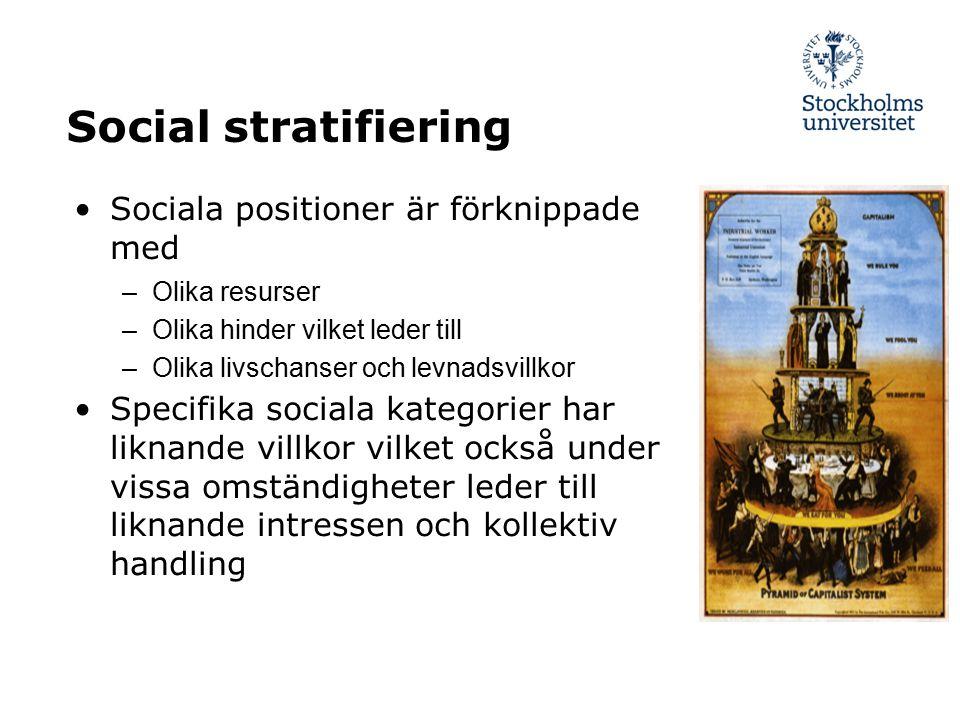 Social stratifiering Sociala positioner är förknippade med –Olika resurser –Olika hinder vilket leder till –Olika livschanser och levnadsvillkor Speci
