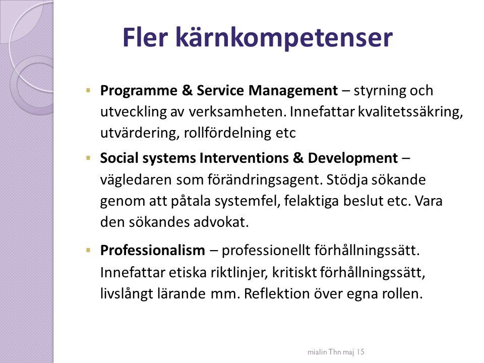 Fler kärnkompetenser mialin Thn maj 15  Programme & Service Management – styrning och utveckling av verksamheten. Innefattar kvalitetssäkring, utvärd