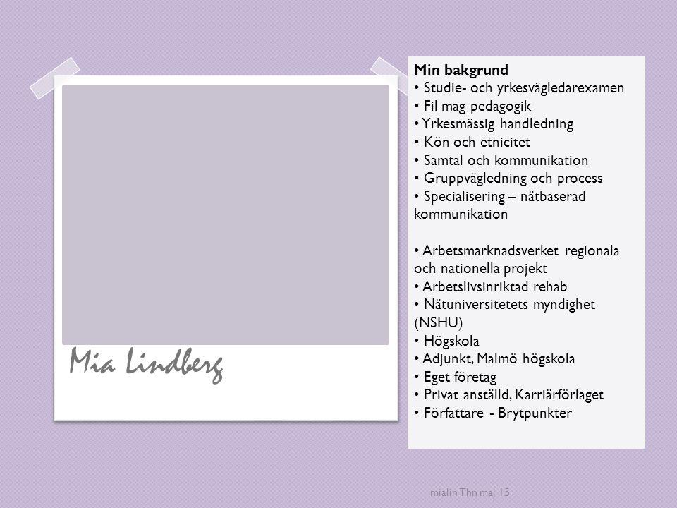 Mia Lindberg Min bakgrund Studie- och yrkesvägledarexamen Fil mag pedagogik Yrkesmässig handledning Kön och etnicitet Samtal och kommunikation Gruppvä