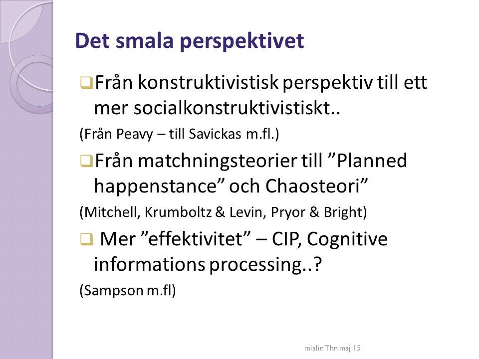 Det smala perspektivet  Från konstruktivistisk perspektiv till ett mer socialkonstruktivistiskt.. (Från Peavy – till Savickas m.fl.)  Från matchning