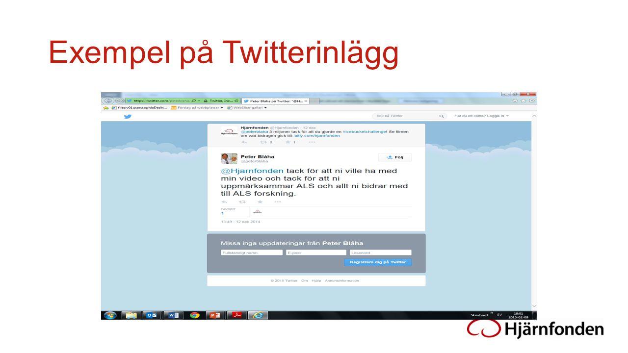 Exempel på Twitterinlägg