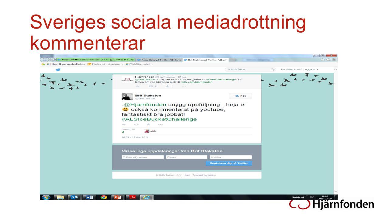 Sveriges sociala mediadrottning kommenterar