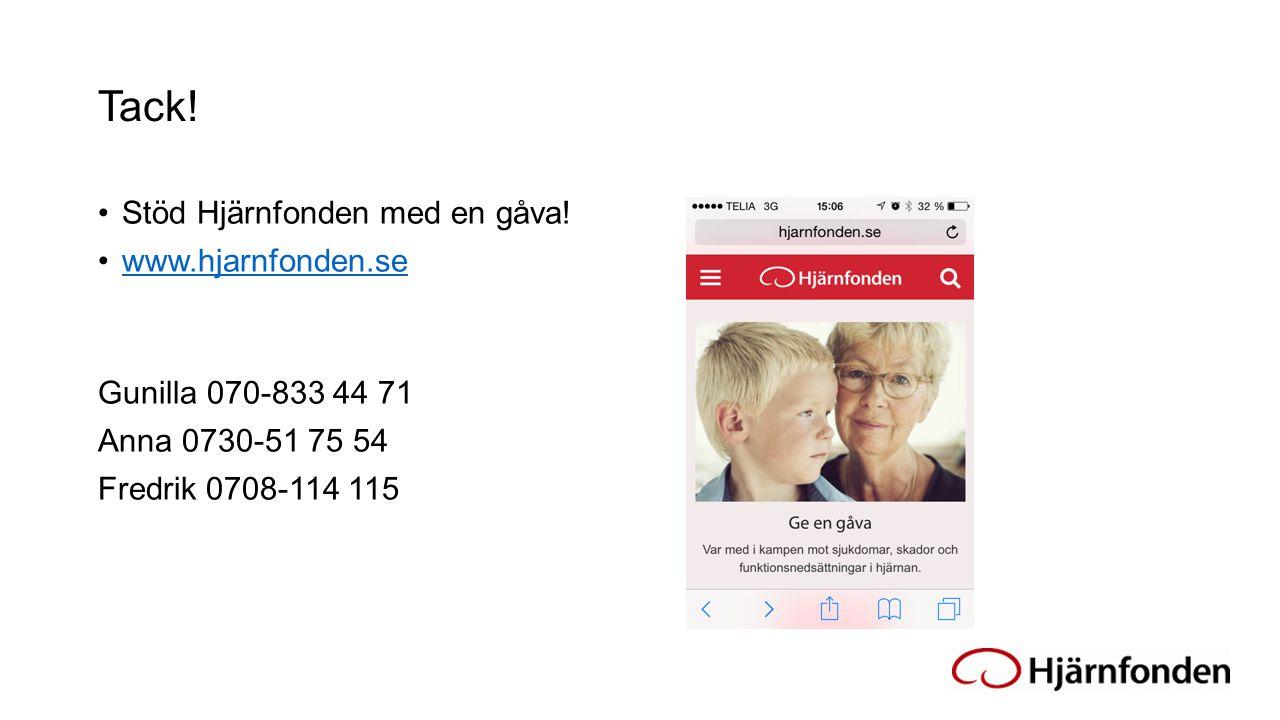 Tack! Stöd Hjärnfonden med en gåva! www.hjarnfonden.se Gunilla 070-833 44 71 Anna 0730-51 75 54 Fredrik 0708-114 115
