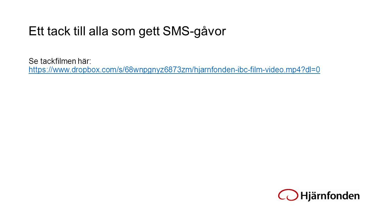 Ett tack till alla som gett SMS-gåvor Se tackfilmen här: https://www.dropbox.com/s/68wnpgnyz6873zm/hjarnfonden-ibc-film-video.mp4?dl=0 https://www.dro