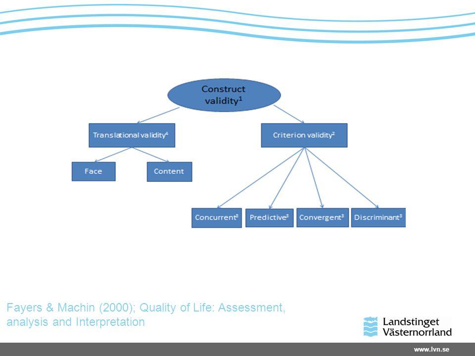 www.lvn.se Fayers & Machin (2000); Quality of Life: Assessment, analysis and Interpretation