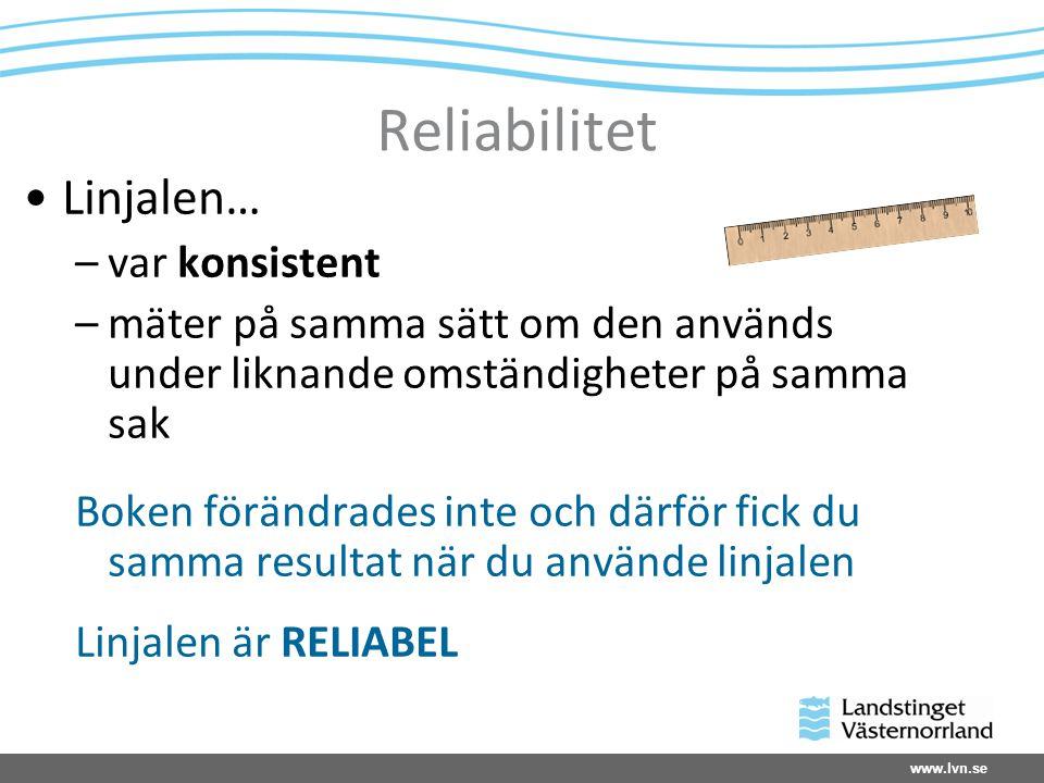 www.lvn.se Reliabilitet Linjalen… –var konsistent –mäter på samma sätt om den används under liknande omständigheter på samma sak Boken förändrades int