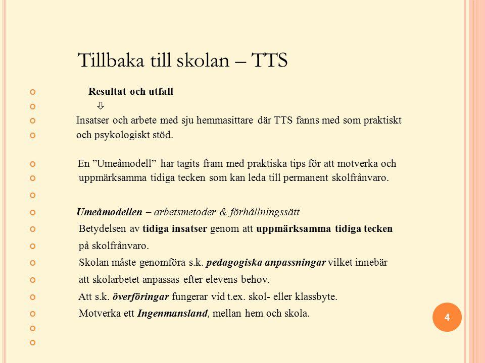 """Tillbaka till skolan – TTS Resultat och utfall  Insatser och arbete med sju hemmasittare där TTS fanns med som praktiskt och psykologiskt stöd. En """"U"""