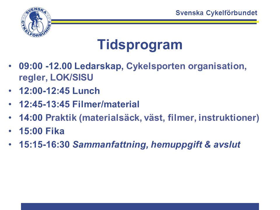 Svenska Cykelförbundet Tidsprogram 09:00 -12.00 Ledarskap, Cykelsporten organisation, regler, LOK/SISU 12:00-12:45 Lunch 12:45-13:45 Filmer/material 1