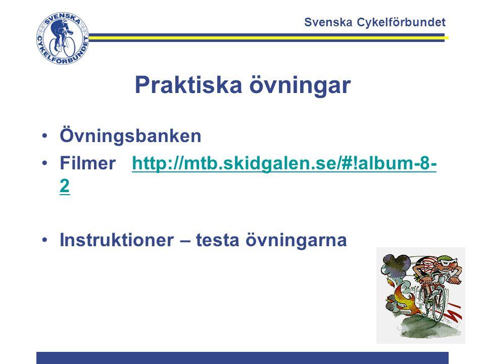Svenska Cykelförbundet Praktiska övningar Övningsbanken Filmer http://mtb.skidgalen.se/#!album-8- 2http://mtb.skidgalen.se/#!album-8- 2 Instruktioner