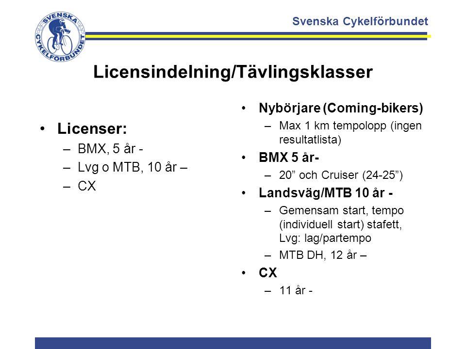 Svenska Cykelförbundet Licensindelning/Tävlingsklasser Licenser: –BMX, 5 år - –Lvg o MTB, 10 år – –CX Nybörjare (Coming-bikers) –Max 1 km tempolopp (i