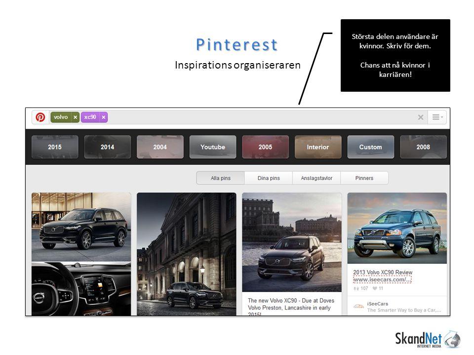 Pinterest Inspirations organiseraren Största delen användare är kvinnor.