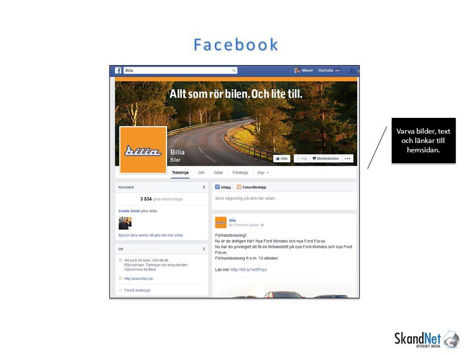 Facebook Varva bilder, text och länkar till hemsidan.