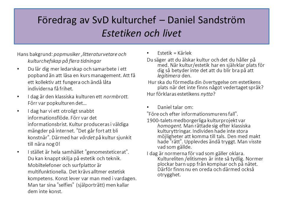 Föredrag av SvD kulturchef – Daniel Sandström Estetiken och livet Hans bakgrund: popmusiker,litteraturvetare och kulturchefskap på flera tidningar Du