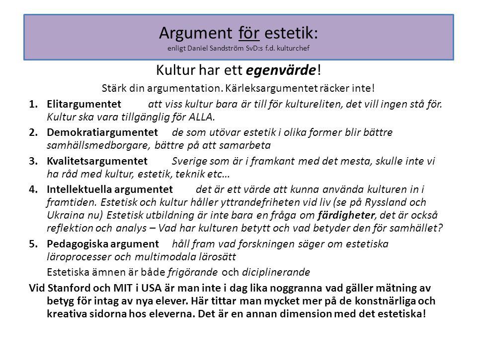 Argument för estetik: enligt Daniel Sandström SvD:s f.d. kulturchef Kultur har ett egenvärde! Stärk din argumentation. Kärleksargumentet räcker inte!