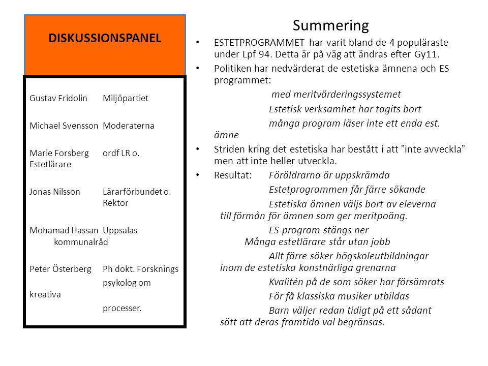 DISKUSSIONSPANEL Summering ESTETPROGRAMMET har varit bland de 4 populäraste under Lpf 94. Detta är på väg att ändras efter Gy11. Politiken har nedvärd