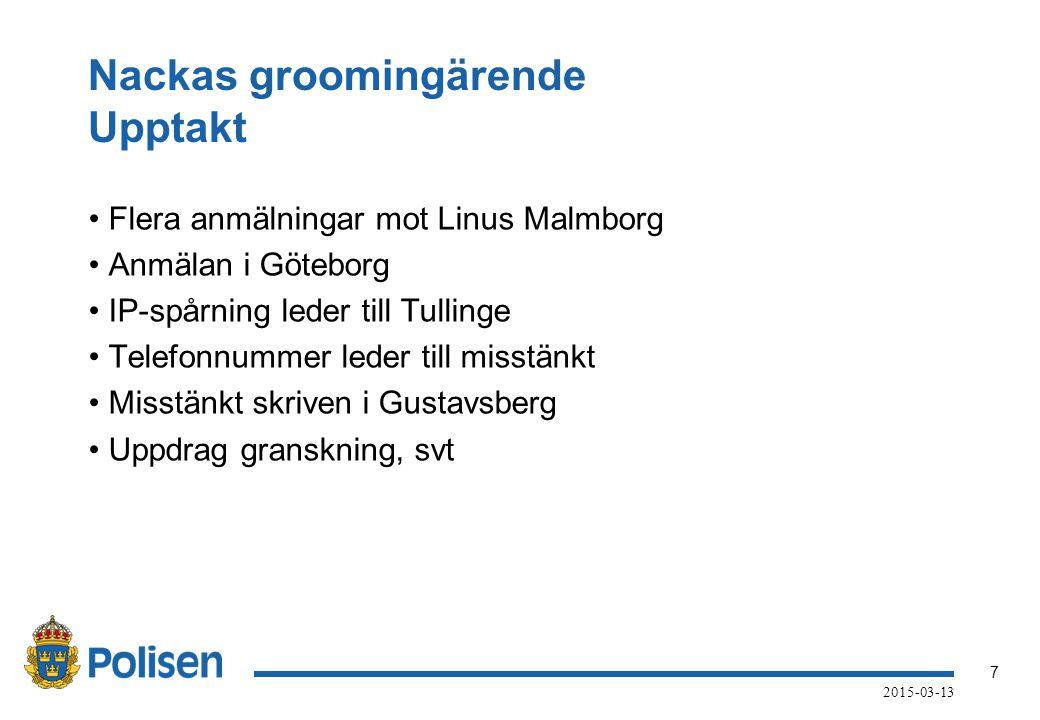 7 2015-03-13 Nackas groomingärende Upptakt Flera anmälningar mot Linus Malmborg Anmälan i Göteborg IP-spårning leder till Tullinge Telefonnummer leder