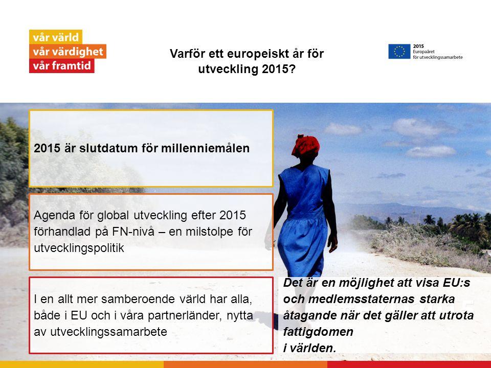Varför ett europeiskt år för utveckling 2015? Det är en möjlighet att visa EU:s och medlemsstaternas starka åtagande när det gäller att utrota fattigd