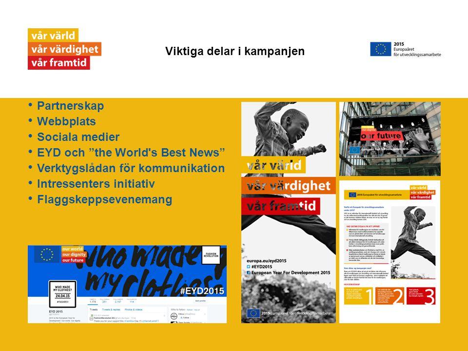 Partnerskap Webbplats Sociala medier EYD och the World s Best News Verktygslådan för kommunikation Intressenters initiativ Flaggskeppsevenemang Viktiga delar i kampanjen