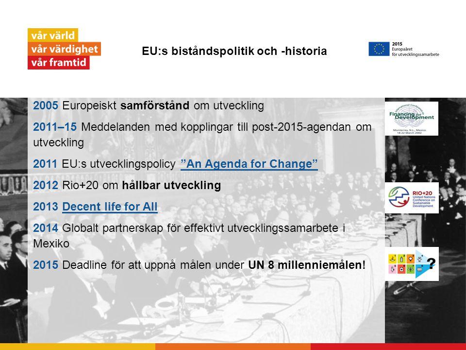 EU:s biståndspolitik och -historia 2005 Europeiskt samförstånd om utveckling 2011–15 Meddelanden med kopplingar till post-2015-agendan om utveckling 2011 EU:s utvecklingspolicy An Agenda for Change An Agenda for Change 2012 Rio+20 om hållbar utveckling 2013 Decent life for AllDecent life for All 2014 Globalt partnerskap för effektivt utvecklingssamarbete i Mexiko 2015 Deadline för att uppnå målen under UN 8 millenniemålen!