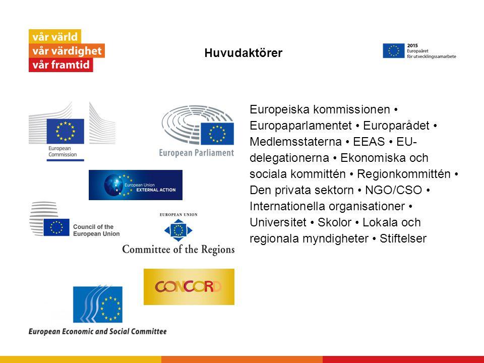 Huvudaktörer Europeiska kommissionen Europaparlamentet Europarådet Medlemsstaterna EEAS EU- delegationerna Ekonomiska och sociala kommittén Regionkomm