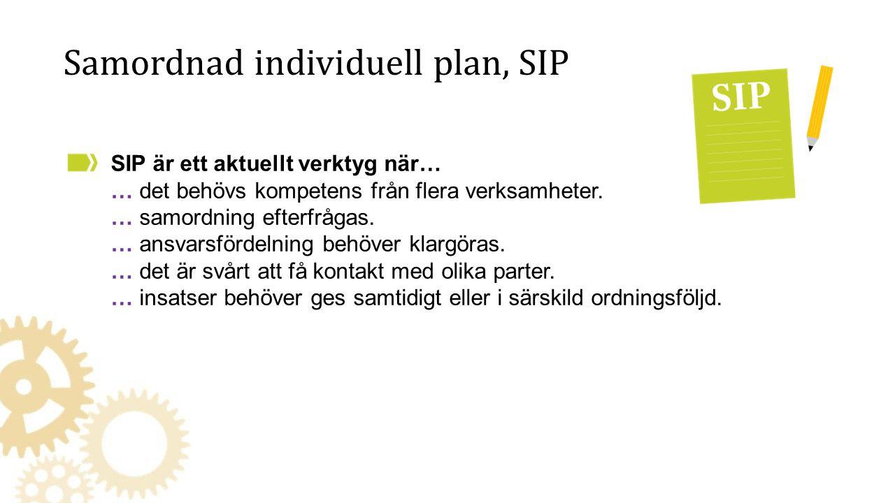 Samordnad individuell plan, SIP SIP är ett aktuellt verktyg när… … det behövs kompetens från flera verksamheter. … samordning efterfrågas. … ansvarsfö