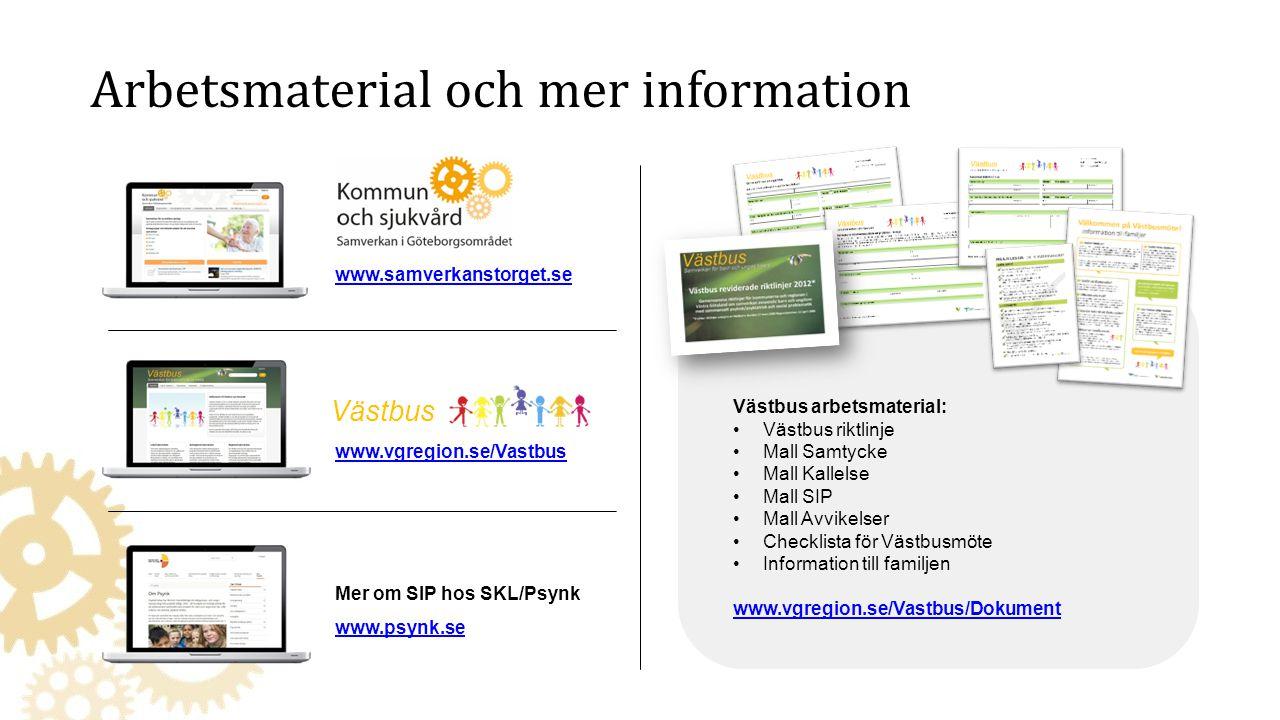 Mer om SIP hos SKL/Psynk www.psynk.se www.samverkanstorget.se www.vgregion.se/Vastbus Västbus Västbus arbetsmaterial: Västbus riktlinje Mall Samtycke