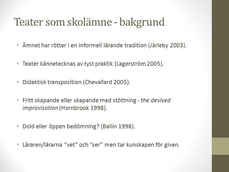 Teater som skolämne - bakgrund Ämnet har rötter i en informell lärande tradition (Järleby 2003). Teater kännetecknas av tyst praktik (Lagerström 2005)