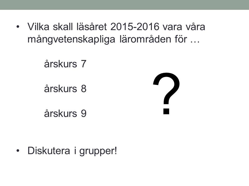 Vilka skall läsåret 2015-2016 vara våra mångvetenskapliga lärområden för … årskurs 7 årskurs 8 årskurs 9 Diskutera i grupper! ?