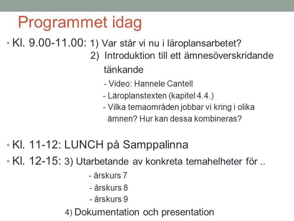 Programmet idag Kl. 9.00-11.00: 1) Var står vi nu i läroplansarbetet? 2) Introduktion till ett ämnesöverskridande tänkande - Video: Hannele Cantell -