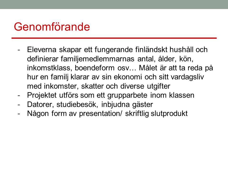 Genomförande -Eleverna skapar ett fungerande finländskt hushåll och definierar familjemedlemmarnas antal, ålder, kön, inkomstklass, boendeform osv… Målet är att ta reda på hur en familj klarar av sin ekonomi och sitt vardagsliv med inkomster, skatter och diverse utgifter -Projektet utförs som ett grupparbete inom klassen -Datorer, studiebesök, inbjudna gäster -Någon form av presentation/ skriftlig slutprodukt