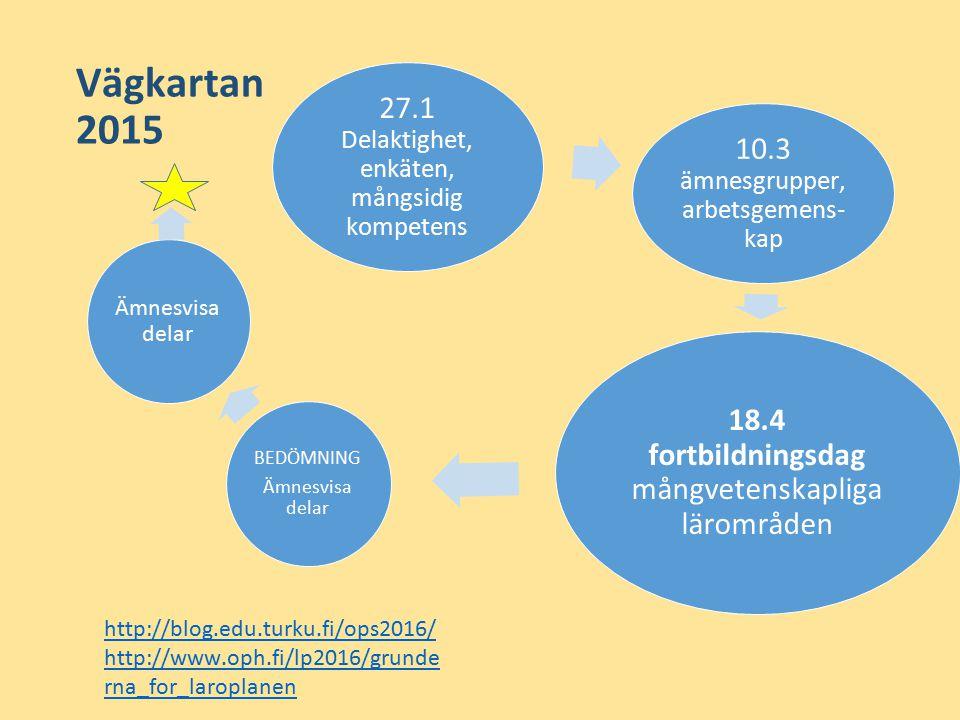 Vägkartan 2015 27.1 Delaktighet, enkäten, mångsidig kompetens 10.3 ämnesgrupper, arbetsgemens- kap 18.4 fortbildningsdag mångvetenskapliga lärområden BEDÖMNING Ämnesvisa delar http://blog.edu.turku.fi/ops2016/ http://www.oph.fi/lp2016/grunde rna_for_laroplanen