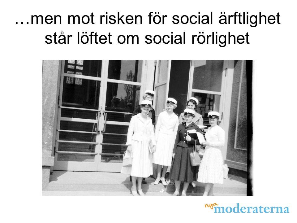 …men mot risken för social ärftlighet står löftet om social rörlighet