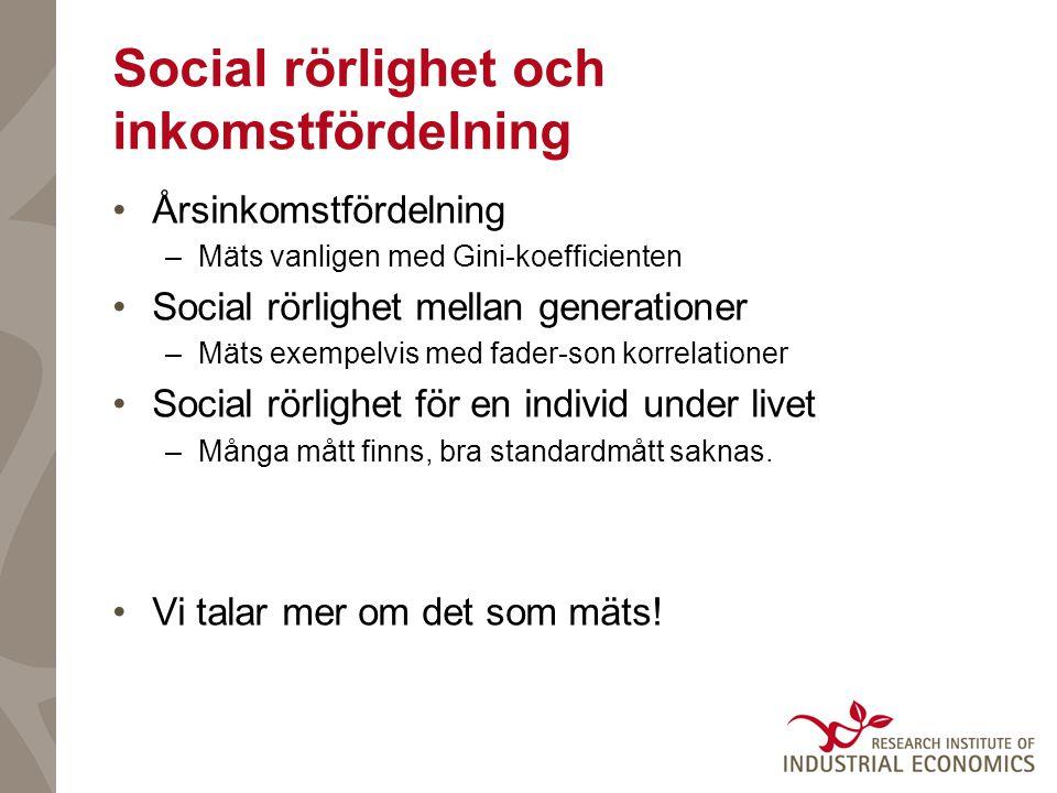 Social rörlighet och inkomstfördelning Årsinkomstfördelning –Mäts vanligen med Gini-koefficienten Social rörlighet mellan generationer –Mäts exempelvis med fader-son korrelationer Social rörlighet för en individ under livet –Många mått finns, bra standardmått saknas.
