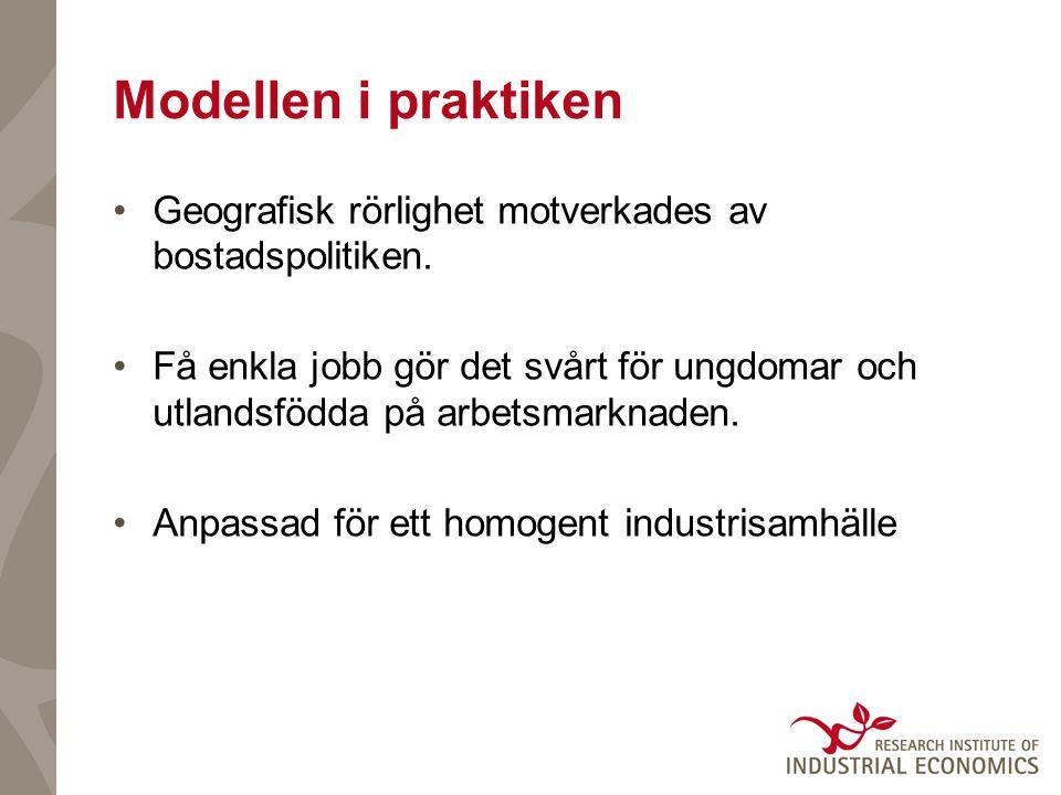 Modellen i praktiken Geografisk rörlighet motverkades av bostadspolitiken.
