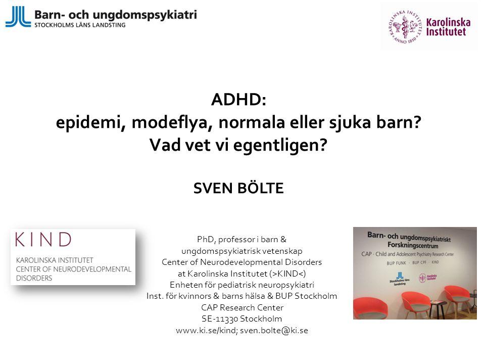 ADHD diagnoskriterier i DSM-5 Bristande uppmärksamhet (6/9) ELLER/OCH hyperaktivt / impulsivt (6/9) [mindre symptom krävs för vuxendiagnos)(5/9)] ej ålders-/utvecklingsadekvat, min.