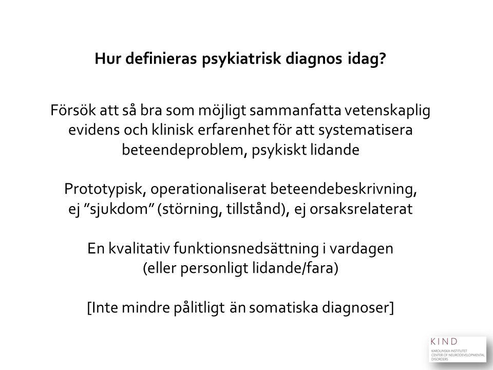ki.se/kind Hur definieras psykiatrisk diagnos idag? Försök att så bra som möjligt sammanfatta vetenskaplig evidens och klinisk erfarenhet för att syst