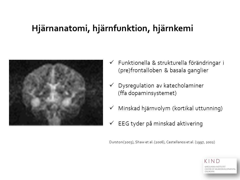 Hjärnanatomi, hjärnfunktion, hjärnkemi Funktionella & strukturella förändringar i (pre)frontalloben & basala ganglier Dysregulation av katecholaminer