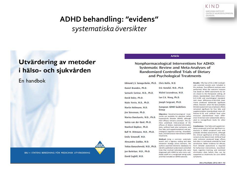 """ADHD behandling: """"evidens"""" systematiska översikter"""