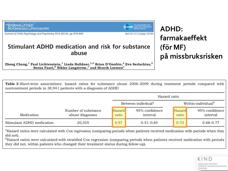 ADHD: farmakaeffekt (för MF) på missbruksrisken