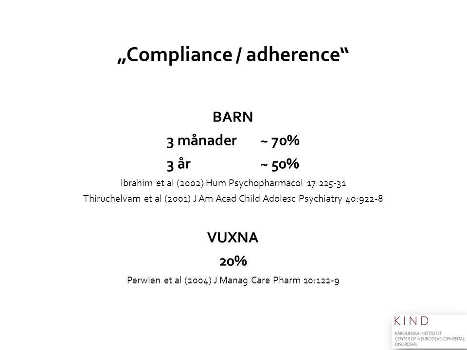 """Compliance / adherence"" BARN 3 månader~ 70% 3 år ~ 50% Ibrahim et al (2002) Hum Psychopharmacol 17:225-31 Thiruchelvam et al (2001) J Am Acad Child A"